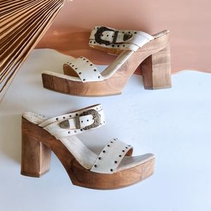 Sbicca Vintage Collection White Leather Platforms